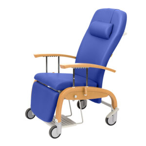 BE2006 Atlanta wooden mobile reclining relax chair with drop arms (shown with optional pull-out footrest)