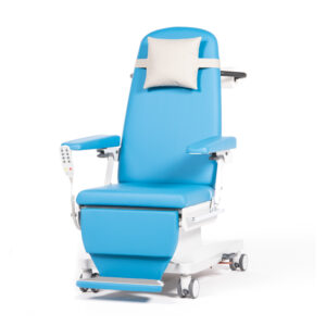 BE1262 Ferrara treatment chair, 3 motor, fixed height, upholstered arms, fold-out footrest, individually locking castors