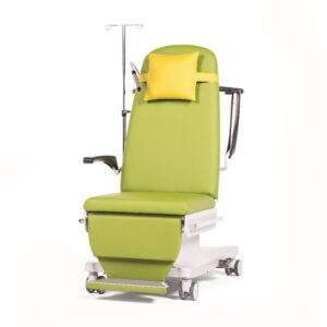 BE1272 Ferrara treatment chair, 3 motor, fixed height, standard arms, fold-out footrest, individually locking castors