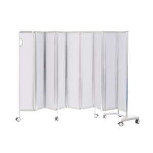 CA3384WH Mobile folding privacy screen, solid panel, 8 sections (2400mm long), White Design