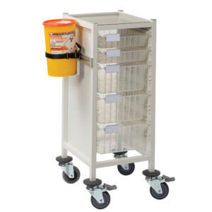 CA4102P2S3D Multi-Store phlebotomy trolley, slimline, Standard height with 2 shallow and 3 deep trays