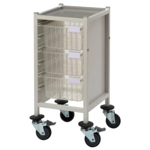 CA41033D Multi-Store procedure trolley, slimline, low height with 3 deep trays