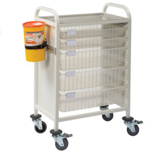 CA4202P2S3D Multi-Store phlebotomy trolley, Standard height with push handles, 2 shallow and 3 deep trays