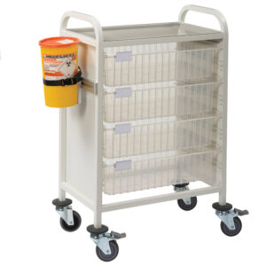 CA4202P4D Multi-Store phlebotomy trolley, Standard height with push handles and 4 deep trays
