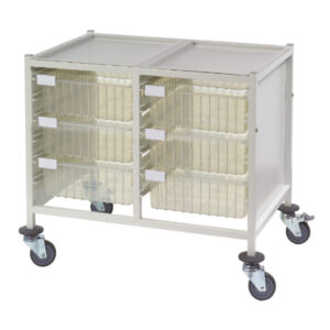 CA42236D Multi-Store procedure trolley, Double width, low height with 6 deep trays