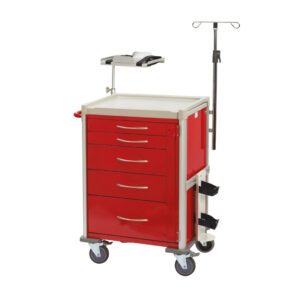 CA4410 Clini-cart® emergency resus trolley with locking bar and 100 seals, 5 drawer, red