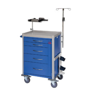 CA4430 Clini-cart® emergency resus trolley with locking bar and 100 seals, 5 drawer, blue