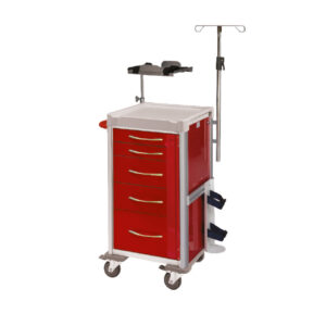 CA4440 Clini-cart® slimline emergency resus trolley with locking bar and 100 seals, 5 drawer, red