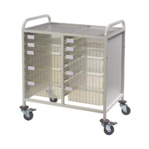 CA42224S6D Multi-Store procedure trolley, Double width, standard height with 4 shallow and 6 deep trays, push handles