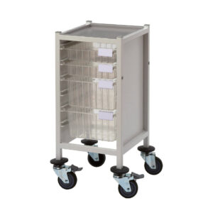 CA41032S2D Multi-Store procedure trolley, slimline, low height with 2 shallow and 2 deep trays