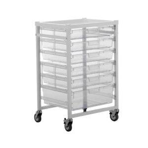 CA42601S4D Open procedure trolley, standard height with 4 shallow and 1 deep trays