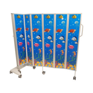 CA3382PA Mobile folding privacy screen, solid panel, 4 sections (1200mm long), Paediatric Design