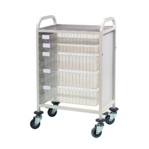 CA42022S3D Multi-Store procedure trolley, Single width, standard height with 2 shallow and 3 deep trays, push handles
