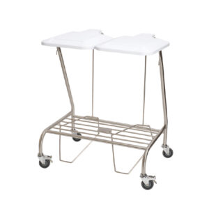CA4742 Soiled linen trolley, stainless steel with lid, double