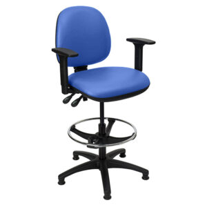 CA3122 Lewis laboratory chair with glide feet, black base, adjustable arms and foot ring