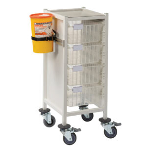 CA4102P4D Multi-Store phlebotomy trolley, slimline, Standard height with 4 deep trays