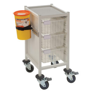 CA4103P3D Multi-Store phlebotomy trolley, slimline, low height with 3 deep trays