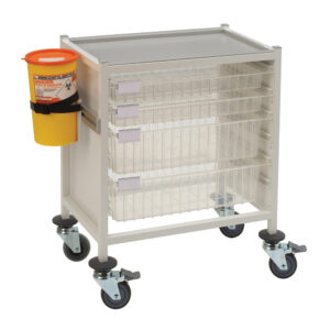 CA4203P2S2D Multi-Store phlebotomy trolley, low height with 2 shallow and 2 deep trays