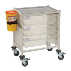 CA4203P3D Multi-Store phlebotomy trolley, low height with 3 deep trays