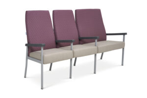 CA2060 Equala 3-seater beam seat with centre arms, high back, one seat bariatric
