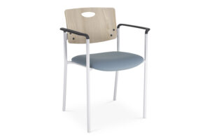 CA2111 Odessa® visitor chair, upholstered seat and wood finish back, with arms