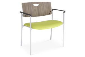 CA2121 Odessa® visitor chair, bariatric, upholstered seat and wood finish back, with arms
