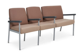 CA2061 Equala 3-seater beam seat with centre arms, medium back, one seat bariatric